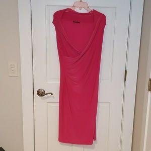 Cap sleeve hot pink dress